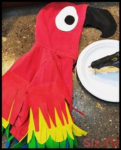 Homemade parrot costume  DIY baby costume  Hot glue and felt re-purpose old hood…