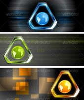 Abstract Hi-Tech Vector Banners  #GraphicRiver         Concept technology banners. Used transparency and blending effects. Vector files are fully edit…