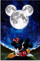 Mickey shaped moon with Mickey & Minnie 022819 #di…