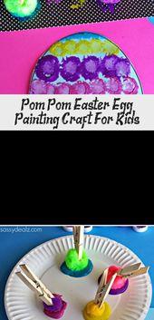Pom Pom Easter Egg Painting Craft für Kinder