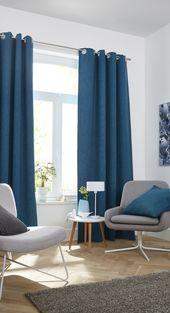 habillez vos fentres de bleu canard avec ces rideaux occultant barcelona bleu - Decoration Salon Bleu