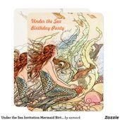 Unter der Seeeinladungs-Meerjungfrau-Geburtstagsfeier | Zazzle