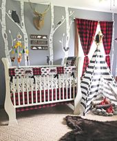 Baby Boy Crib Bedding Set, Lumberjack Baby Bedding, Mountain Nursery, Woodlands Baby Bear Blanket, Red Buffalo Plaid Skirt, Arrows, Bears – Hopefully soon to be baby ideas