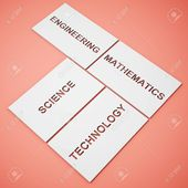 White boxes with words STEM education Science Technology Engineering Mathematics on background. 3D illustration. , #AFF, #STEM, #education, #words, #W…