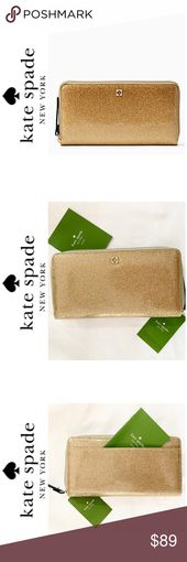 NWT Kate Spade gold glitter effect patent wallet This beautiful continental wall…