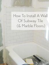 subway tile showers marble tile floor
