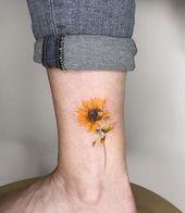 45 einfache einzigartige Sonnenblumen-Tätowierungs-Ideen für Frau – Tattoo Art