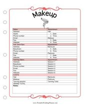 The Wedding Planner Makeup template covers appointment times…
