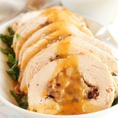 Roasted Turkey Breast with Cranberry Bacon Stuffing