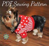 PATRÓN DE CAMISETA PARA PERRO, Patrón de camisa para perro, Patrón de sudadera con capucha para perro, Patrón de costura digital de ropa para perros pequeños, Cinco tamaños incluidos   – Dog Tee's!!