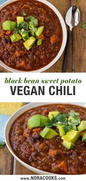 Sweet Potato Black Bean Chili – Ein köstliches und leichtes veganes Chili voller …