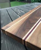Custom Handmade Wood Cutting Board – Walnut, Maple & Purple Heart