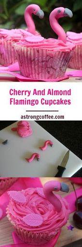 Cherry And Almond Flamingo Cupcakes