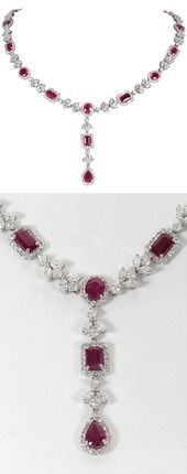 Exquisite Multi-shape Burma Ruby and Diamond Neckl…
