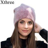 Xthree new simple Rabbit fur Beanie Hat for Women Winter hat for children Skullies Warm Gravity Falls Cap Gorros Female Cap – Skullies & Beanies