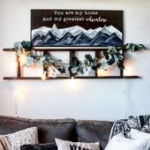 Mountain painting on wood for above the couch.