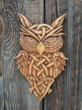 Wooden Owl Wood Carving Wood Wall Decor Celtic Owl Hand Carved Owl Wood Wall Hanging Wooden Gift Celtic Carved Wood Animal Wooden Animal