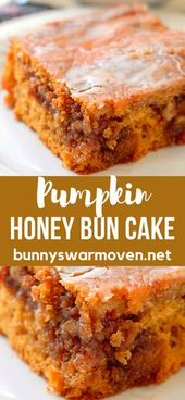 Pumpkin Honey Bun Cake, an easy cake that uses a box cake mix and delivers the p…