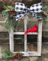 Bauernhaus Weihnachten Dekor, Weihnachten dekoriert Fensterscheibe, Winter Fensterscheibe Dekor, Weihnachten Fensterrahmen, Buffalo Check, Buffalo kariert