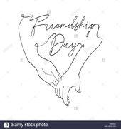 Laden Sie dieses Alamy Stock-Vektorgrafik Glückliche Freundschaft Tag Grußkarte Abbildung: Freunde Hand in Hand gemeinsam in die Hand gezeichneten S…