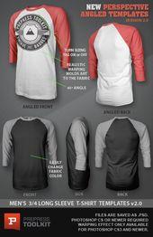 Download Ghosted 3 4 Long Sleeve Raglan T Shirt Template Psd Prepress Toolkit Shirt Template T Shirt Design Template New T Shirt Design