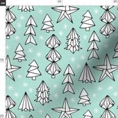 Christmas Fabric – Christmas Trees And Origami Decoration Stars Mint By Littlesmilemakers-Holiday co