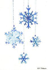 Original Watercolor Christmas Card Snowflakes by MilkFoam on Etsy # watercolor #by #milkfoam #originalgiftideas
