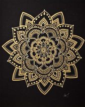 Mandala Artwork / Gold Mandala / Wall Artwork/ Flower Mandala / Meditation Image / Handmade by Adi / 16×20″