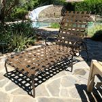 Brown Jordan Roma Chaise Lounge Beautifully Refinished With New Powder Coat Finish In Copper Canyon And New Vinyl Strap With Images Brown Jordan Furniture Outdoor Design
