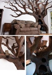 Cat Tree The artist starts with a wooden armature,…