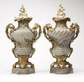 Lot# 1032 A pair of Napoleon III ormolu-mounted gr…