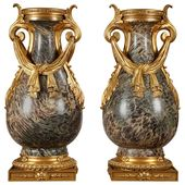 Pair Of 19th Century Russian Jasper Vases In Louis Xvi Style