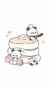 Wallpaper | Cute | Panda | Pancakes | Illustration…