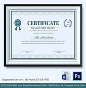 Blank Certificate Of Authenticity Limited Edition Prestige Of