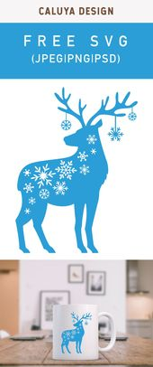 Free Snow Flake Reindeer SVG, PNG, EPS & DXF by