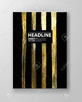 Vector Black and Gold Design Templates for Brochures, Flyers, Mobile Technologies, Applications, Online Services, Typographic Emblems, Logo, Banners a…