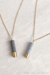 Minimalist Granite Necklace Cylinder Gold door FinchesMyDear –  #cylinder #door #finchesmydea…