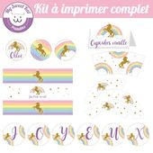 printable thème licorne / unicorn , topper, wrapper pour cupcakes… pour anniv…