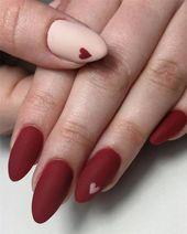 25 + › Über 100 romantische Nail Designs Inspirationen zum Valentinstag im Jahr 2019