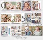 Baby Album Photoshop-Vorlage, Baby-Foto-Album, Neugeborenen Foto-Album für Fotografen, Baby erste Jahr Fotobuch Vorlage für Photoshop