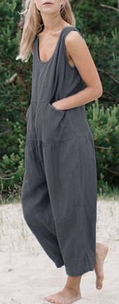 Free delivery&60%off. M-5XL Ladies Sleeveless Strong Coloration Unfastened Cotton Jumpsuit
