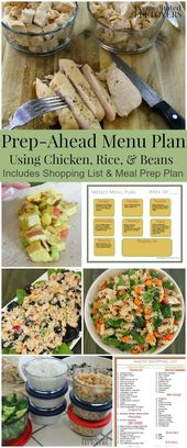Prep-Ahead Meal Plan Using Cubed Chicken, Beans, and Rice