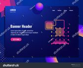 Abstract technology banner, data transaction icon, concept of cryptography and database, neon lighting vector illustration