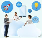 Download premium photo of Happy people with cloud and technology icons