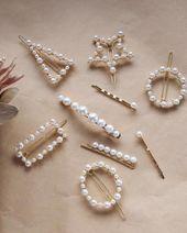 Perle Haarspange Stern Dreieck Rechteck Haarspange Gold Vintage Metall Snap Haar …   – Pinterest Likes ♡