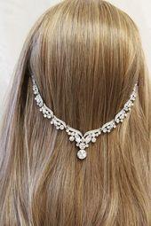 Crystal Wedding Headpiece, Art Deco Hair Chain, Bridal Hair Piece, Crystal Hair chain, 1920s Headpiece, Art Deco Wedding Hair Accessory