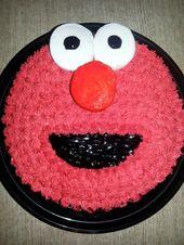 """Schneller & einfacher Elmo-Kuchen! Laden gekauft 8 """"runden Kuchen, in rot vereist. Betty Crocker W …"""