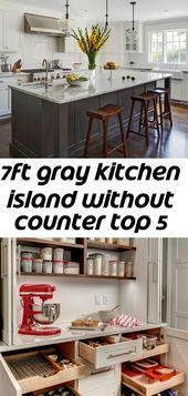 7ft Gray Kitchen Island Without Counter Top 5 Fully Assembled