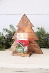 DIY hölzerner Weihnachtsbaum-Weckglas-Leuchter
