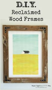 Build your own large rustic wood art frames for a fraction of what you'd pay…